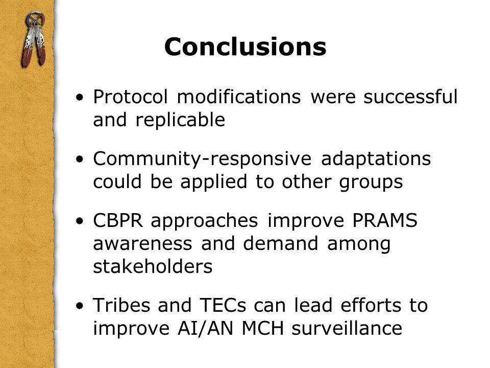 Conclusions Protocol modifications were successful and replicable