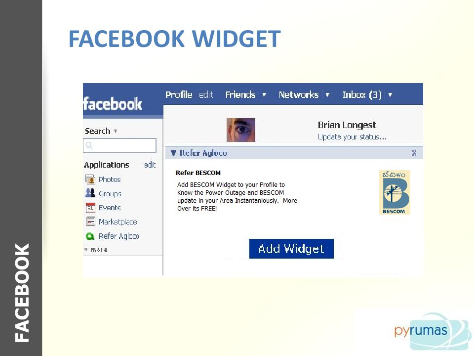 FACEBOOK WIDGET FACEBOOK