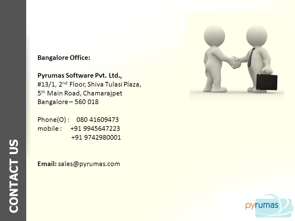 CONTACT US Bangalore Office: