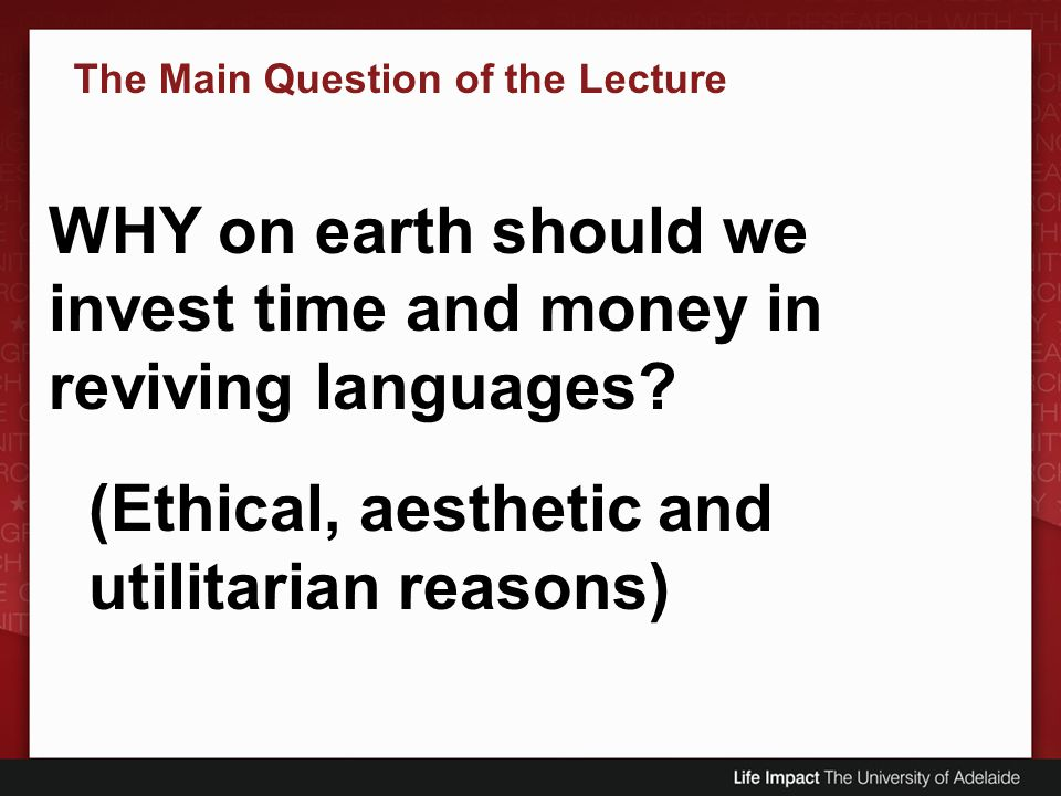 The Main Question of the Lecture
