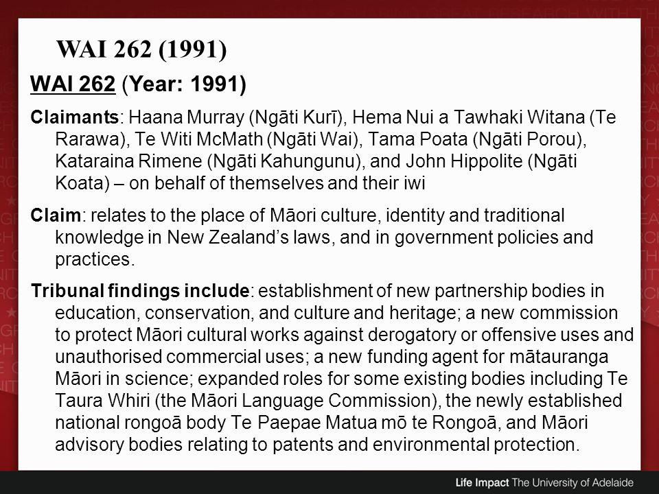WAI 262 (1991) WAI 262 (Year: 1991)