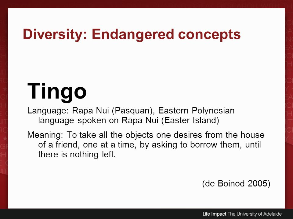 Diversity: Endangered concepts