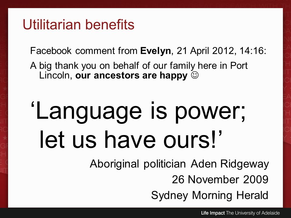 'Language is power; let us have ours!'
