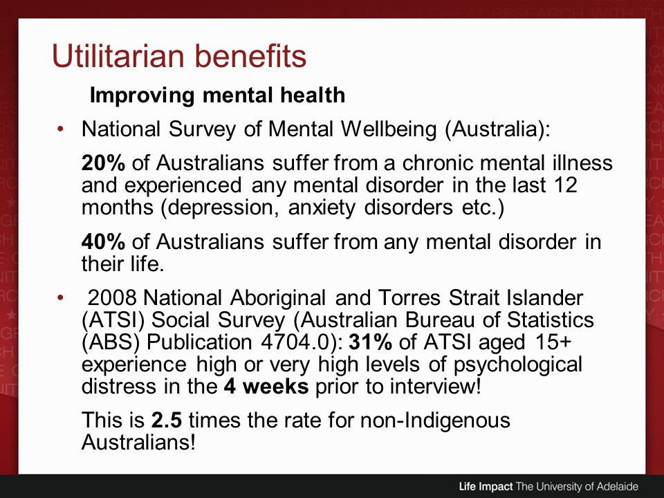 Utilitarian benefits Improving mental health