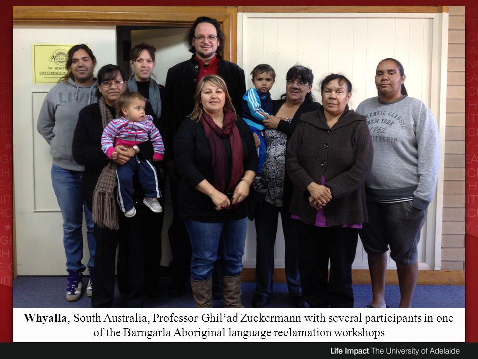 Whyalla, South Australia, Professor Ghil'ad Zuckermann with several participants in one of the Barngarla Aboriginal language reclamation workshops