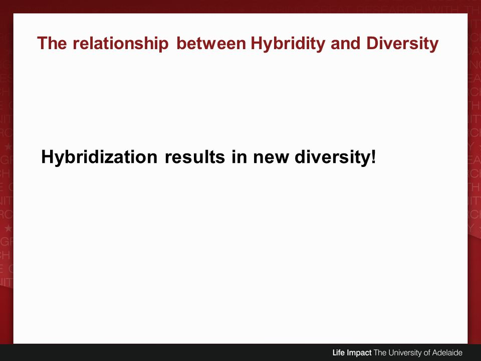 Hybridization results in new diversity!