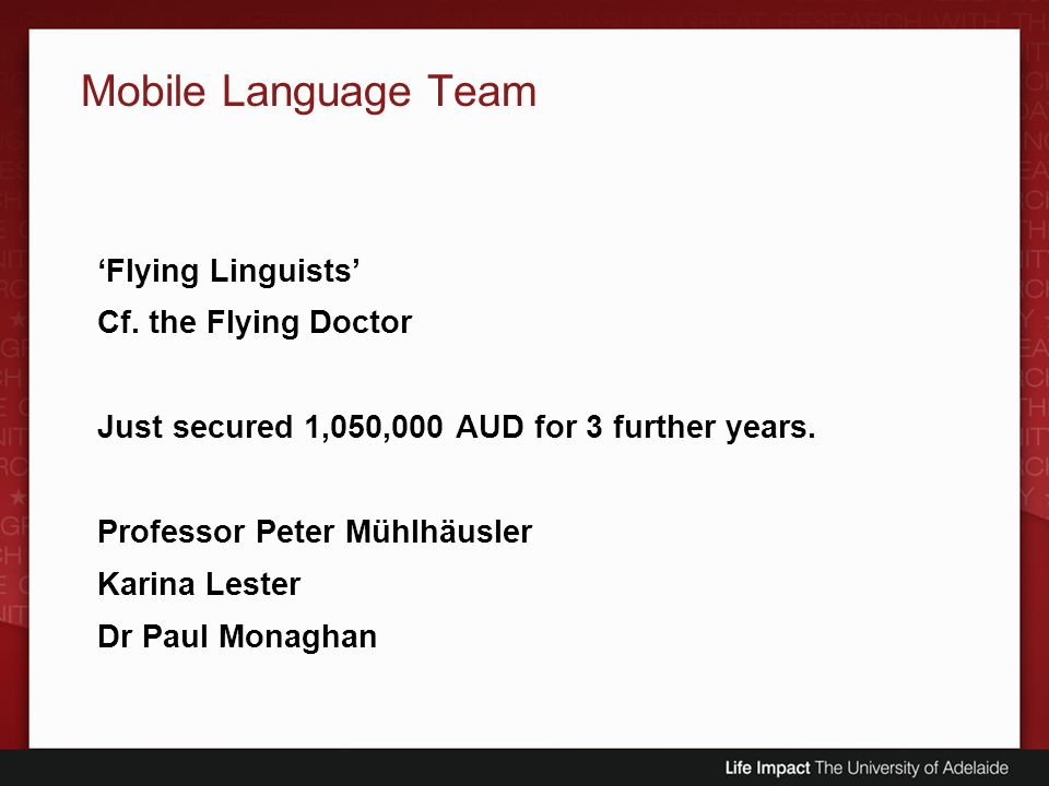 Mobile Language Team 'Flying Linguists' Cf. the Flying Doctor