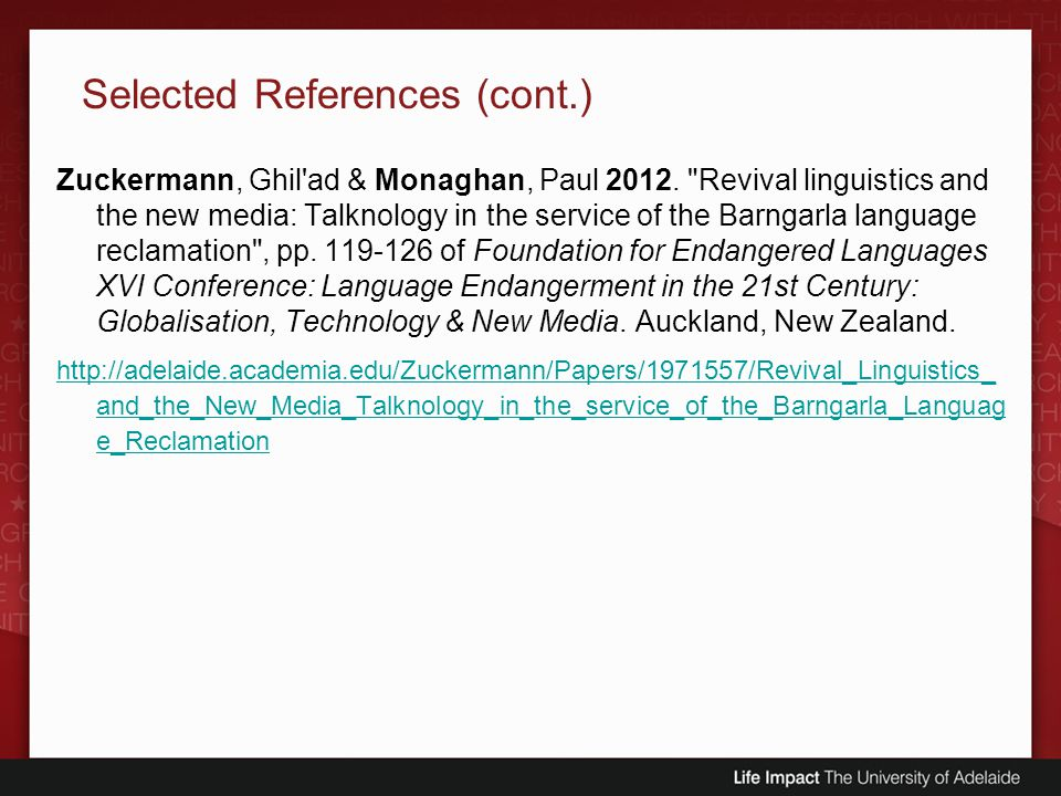 Selected References (cont.)