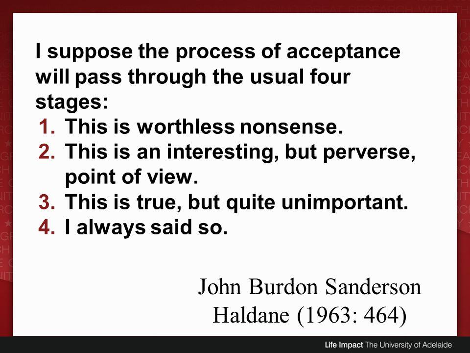 John Burdon Sanderson Haldane (1963: 464)