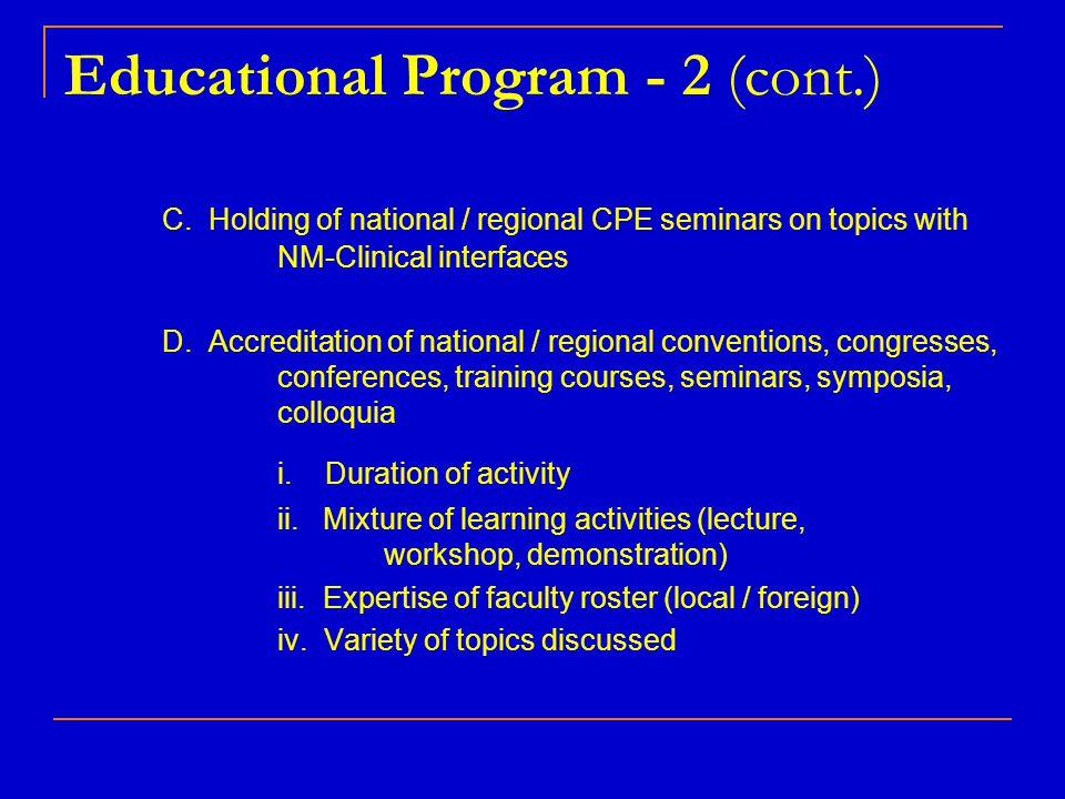 Educational Program - 2 (cont.)