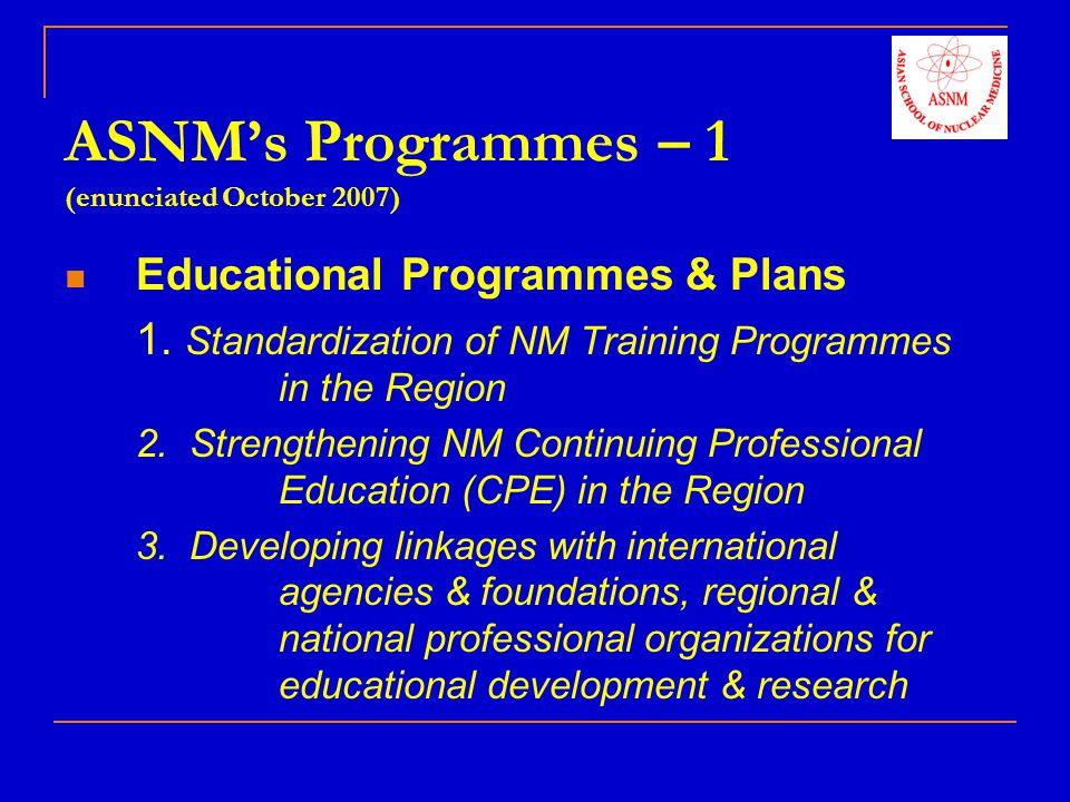 ASNM's Programmes – 1 (enunciated October 2007)
