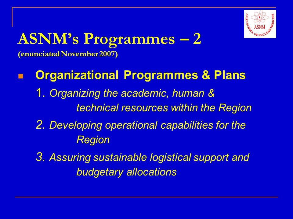 ASNM's Programmes – 2 (enunciated November 2007)