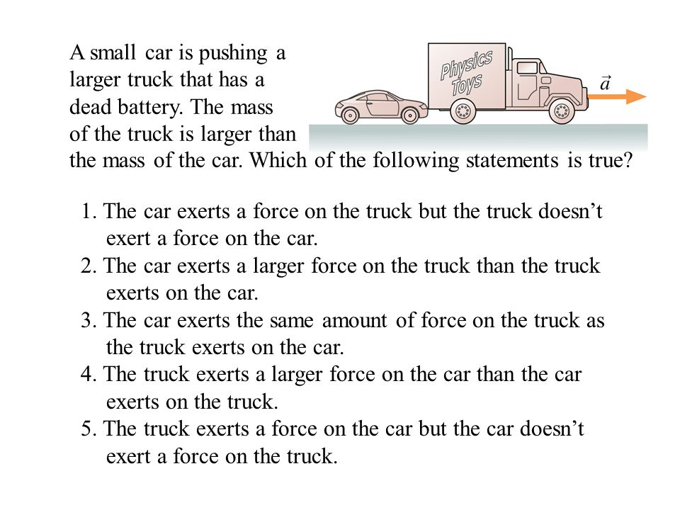 the mass of the car. Which of the following statements is true