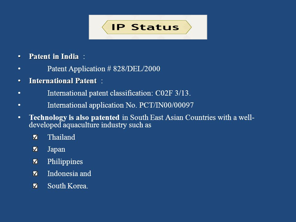 Patent in India : Patent Application # 828/DEL/2000. International Patent : International patent classification: C02F 3/13.