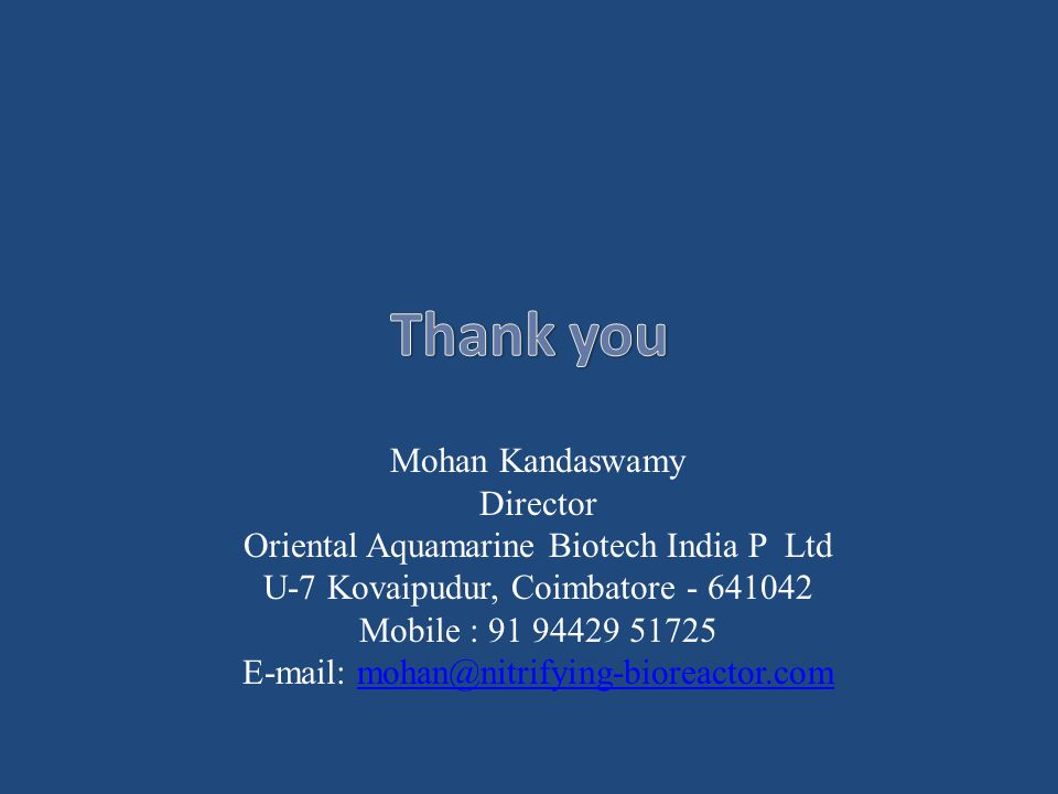 Thank you Mohan Kandaswamy Director