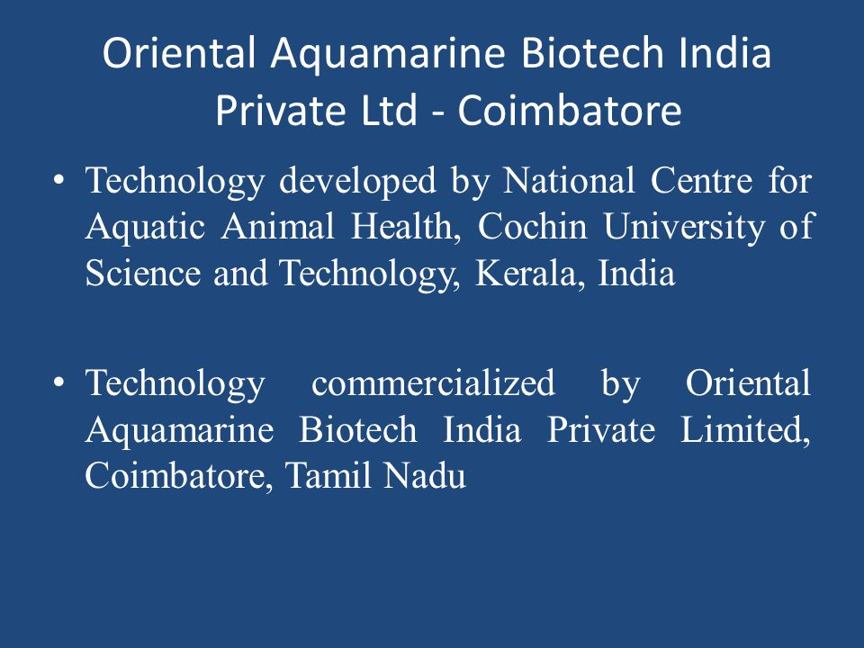Oriental Aquamarine Biotech India Private Ltd - Coimbatore