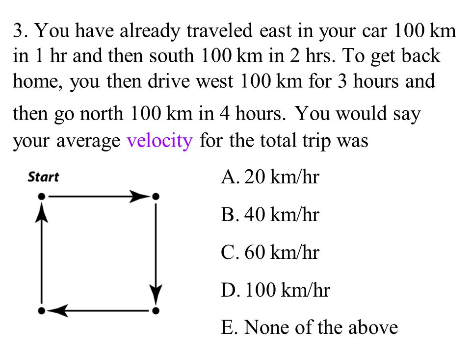 3. You have already traveled east in your car 100 km in 1 hr and then south 100 km in 2 hrs. To get back home, you then drive west 100 km for 3 hours and then go north 100 km in 4 hours. You would say your average velocity for the total trip was