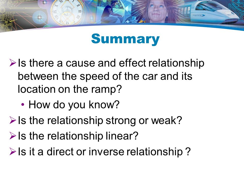Summary Is there a cause and effect relationship between the speed of the car and its location on the ramp