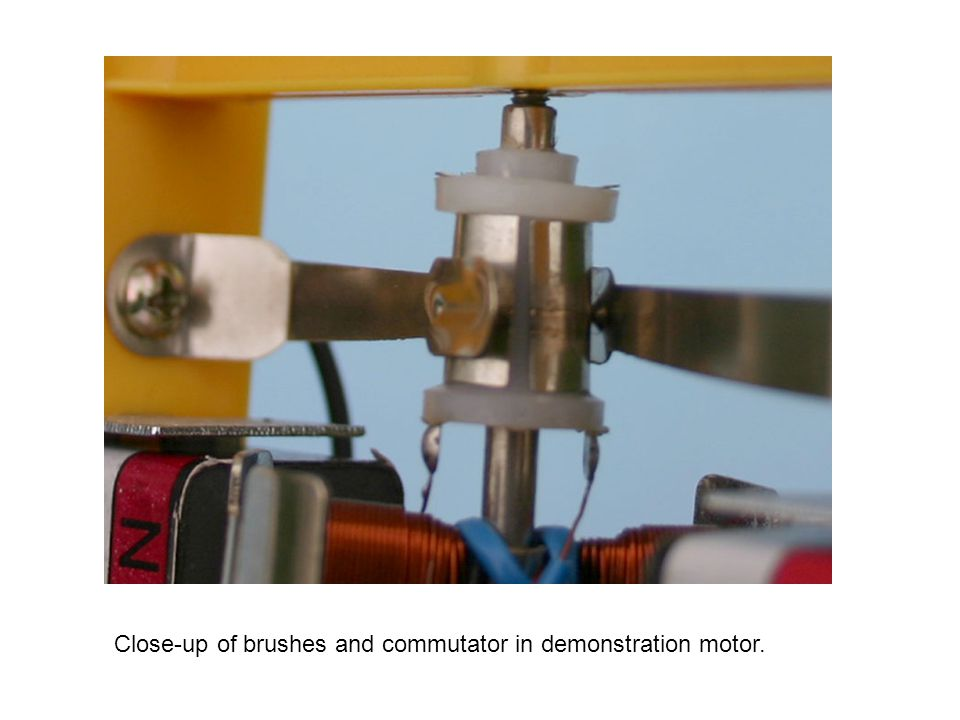 Close-up of brushes and commutator in demonstration motor.