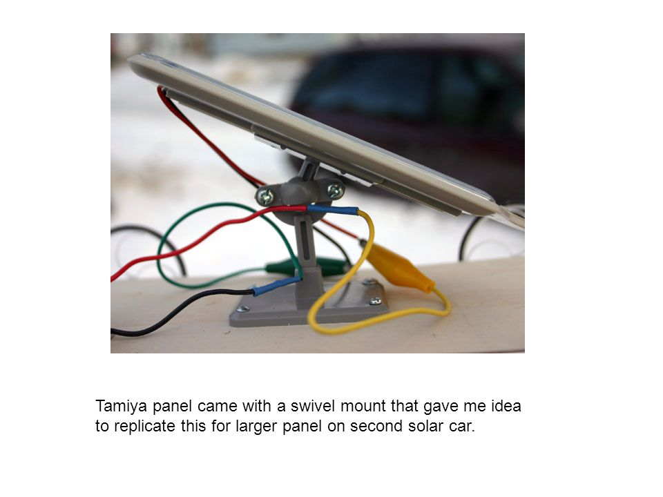 Tamiya panel came with a swivel mount that gave me idea to replicate this for larger panel on second solar car.