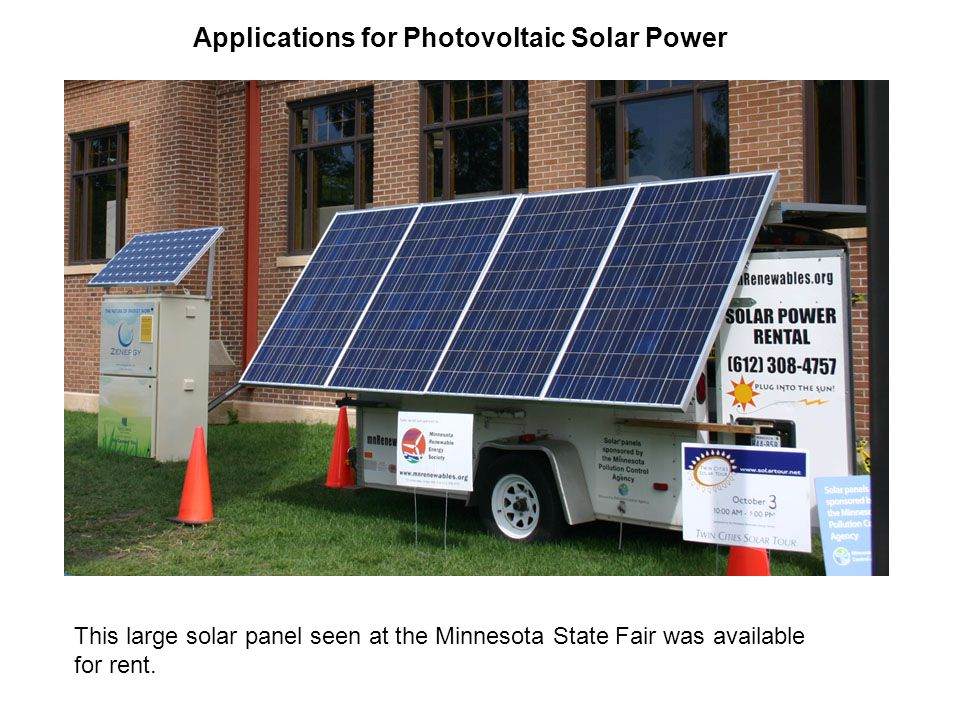 Applications for Photovoltaic Solar Power