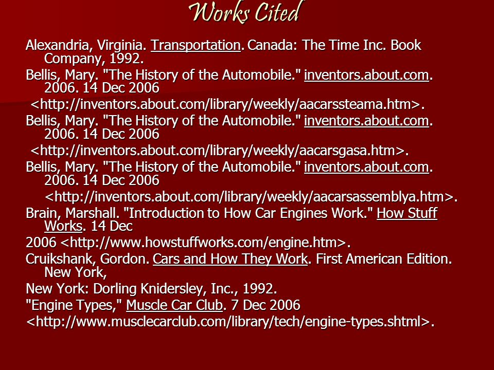 Works Cited Alexandria, Virginia. Transportation. Canada: The Time Inc. Book Company, 1992.