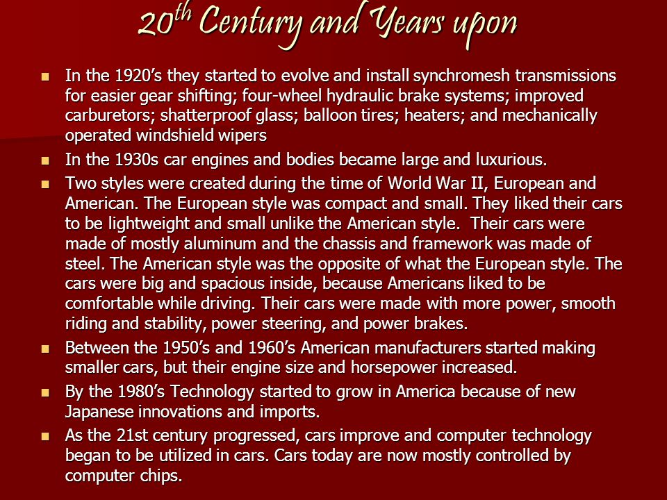 20th Century and Years upon