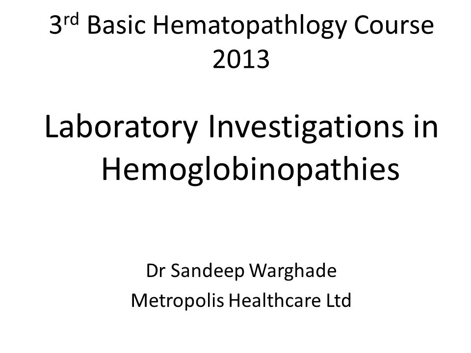 3rd Basic Hematopathlogy Course 2013