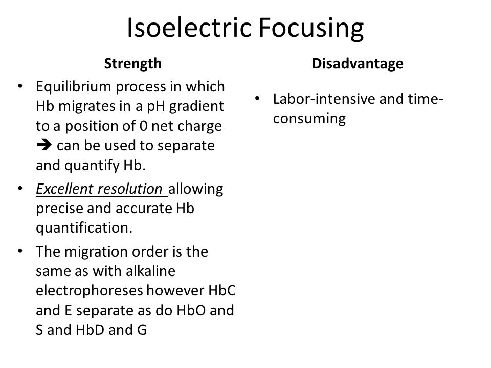 Isoelectric Focusing Strength Disadvantage