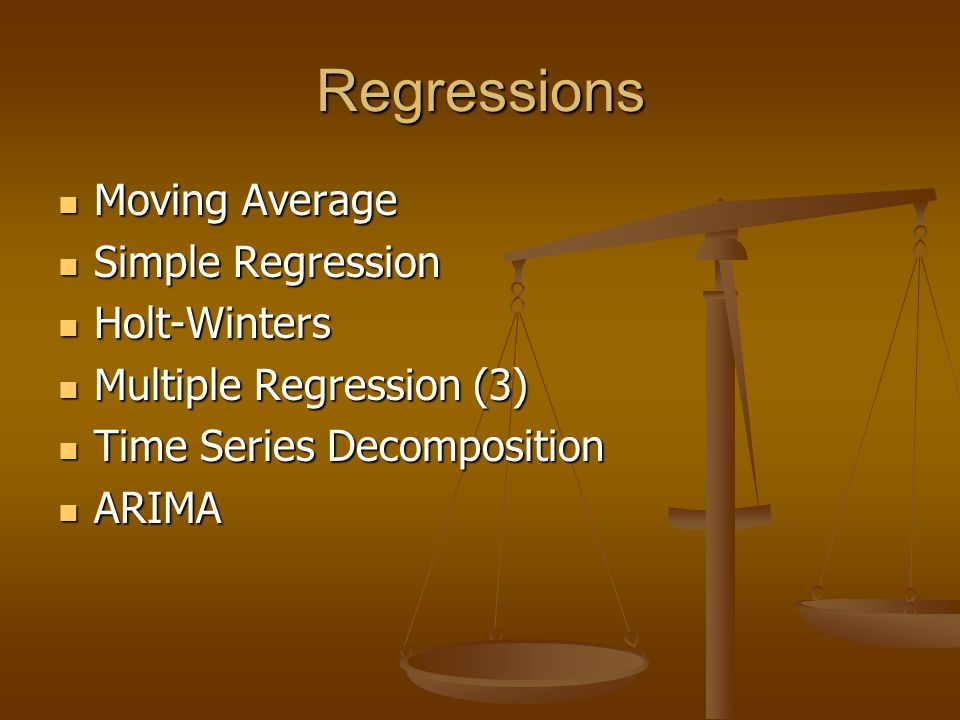 Regressions Moving Average Simple Regression Holt-Winters