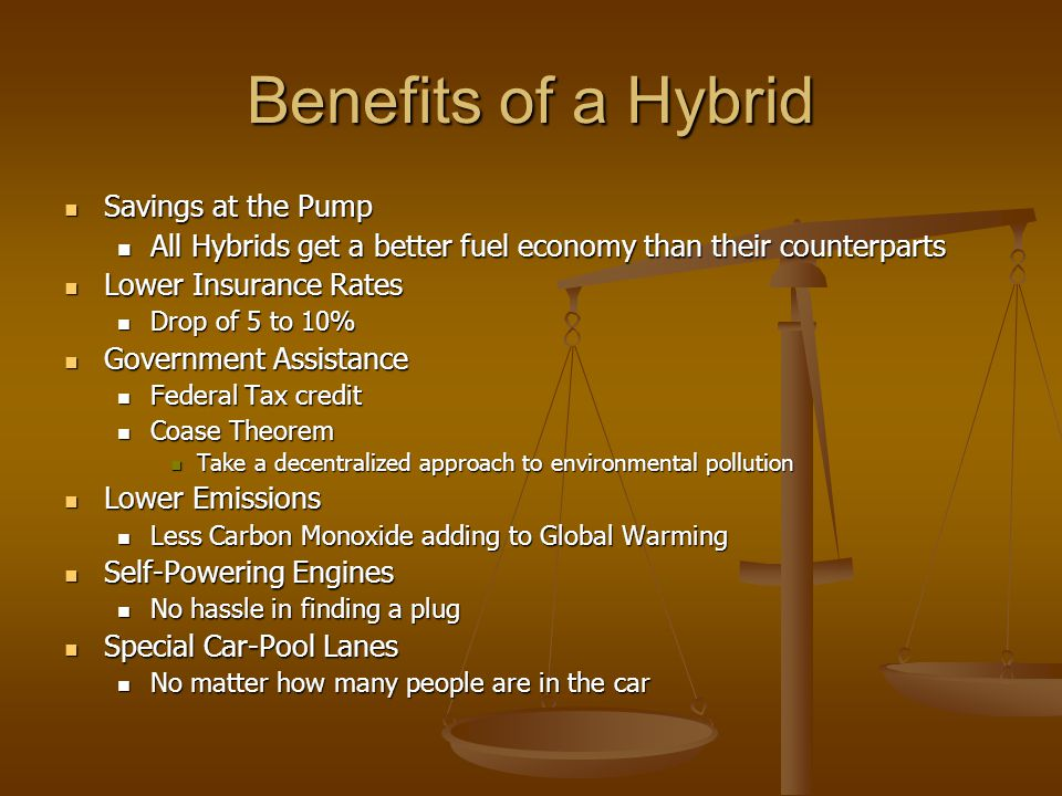 Benefits of a Hybrid Savings at the Pump