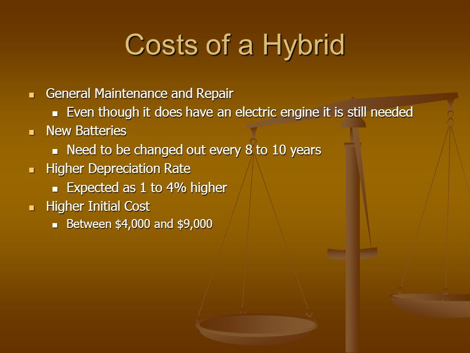 Costs of a Hybrid General Maintenance and Repair