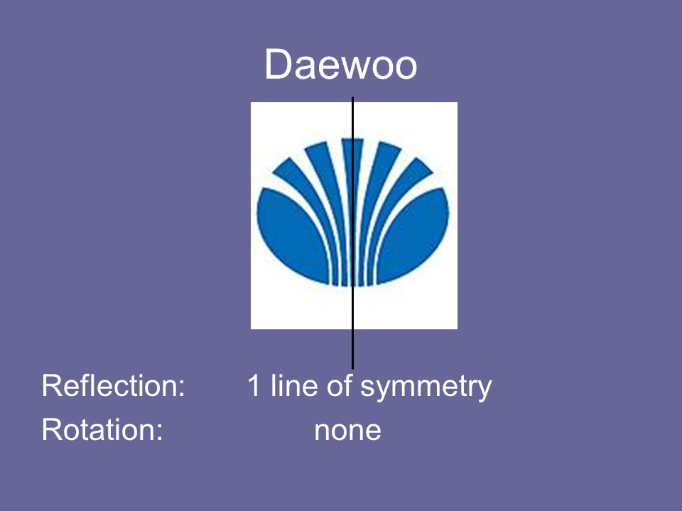 Daewoo Reflection: 1 line of symmetry Rotation: none