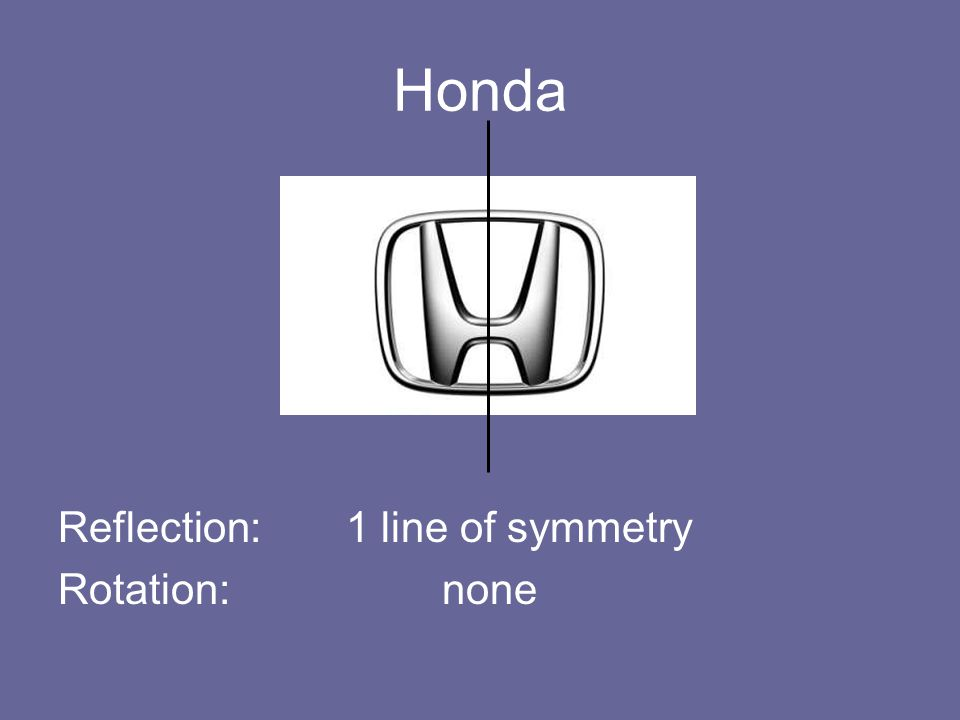 Honda Reflection: 1 line of symmetry Rotation: none