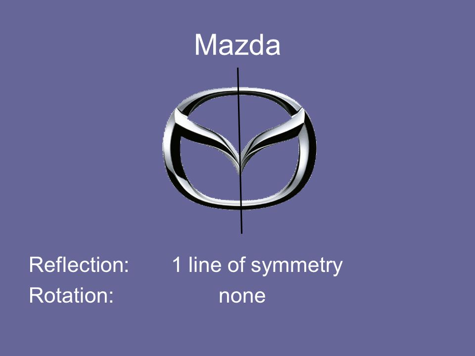 Mazda Reflection: 1 line of symmetry Rotation: none