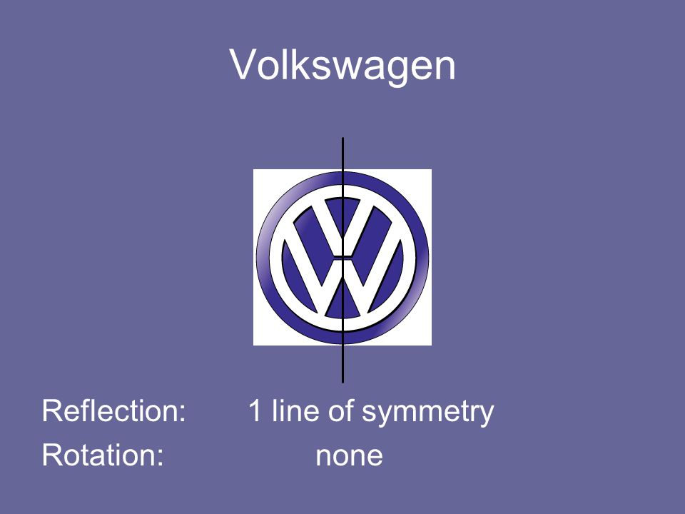 Volkswagen Reflection: 1 line of symmetry Rotation: none