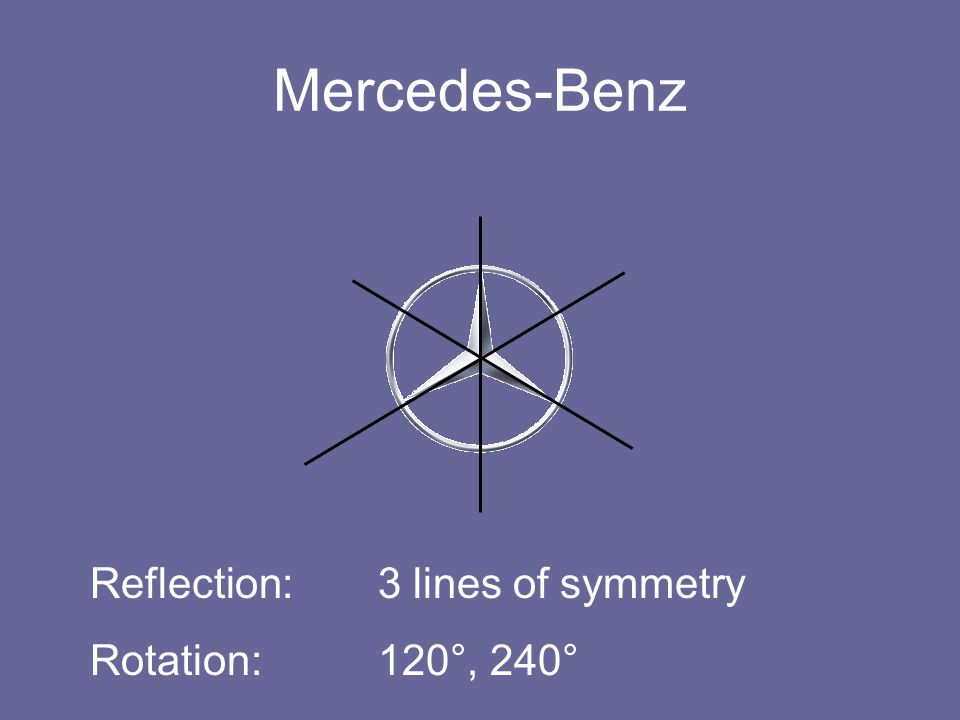 Mercedes-Benz Reflection: 3 lines of symmetry Rotation: 120°, 240°