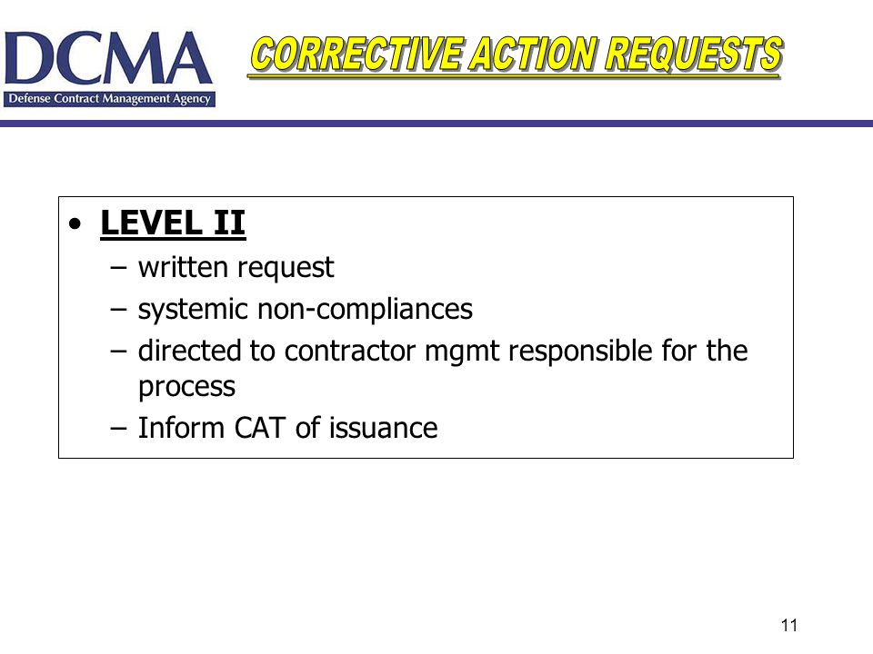 LEVEL II written request systemic non-compliances
