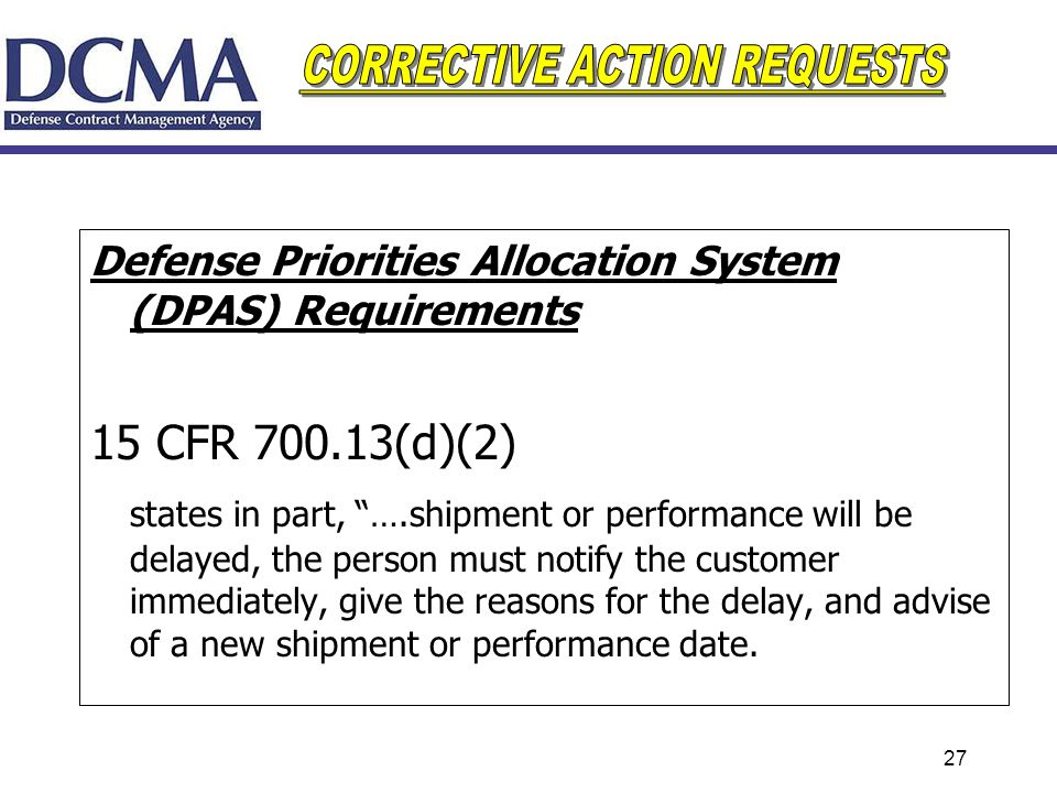 Defense Priorities Allocation System (DPAS) Requirements
