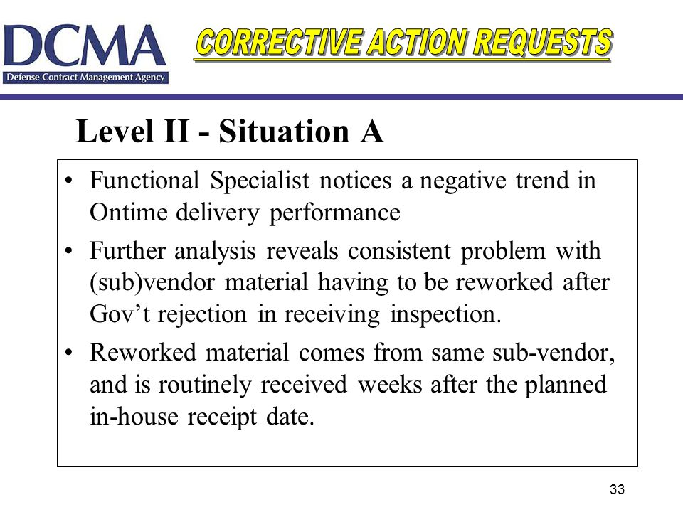 Level II - Situation A Functional Specialist notices a negative trend in Ontime delivery performance.