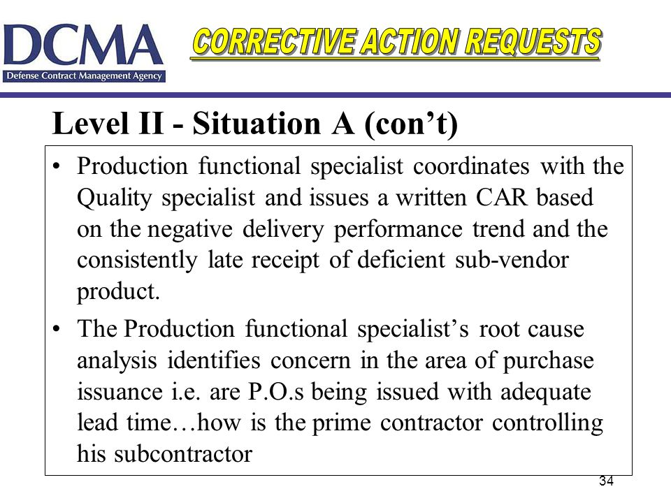 Level II - Situation A (con't)