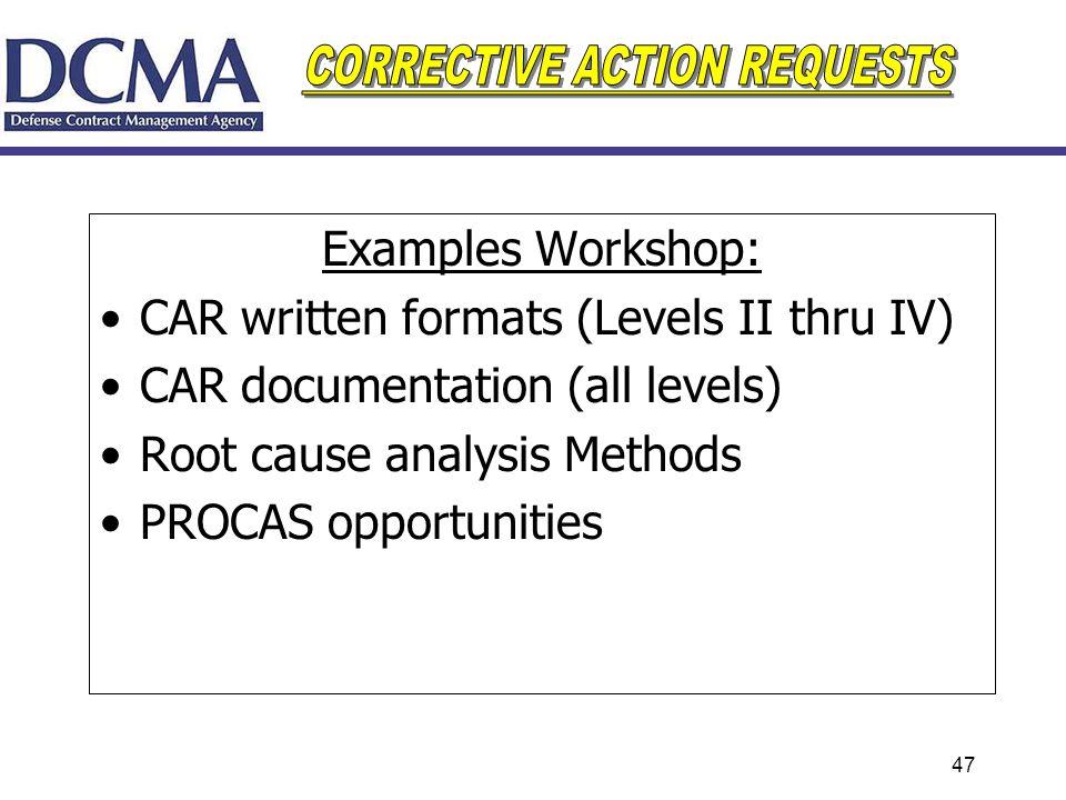 CAR written formats (Levels II thru IV) CAR documentation (all levels)