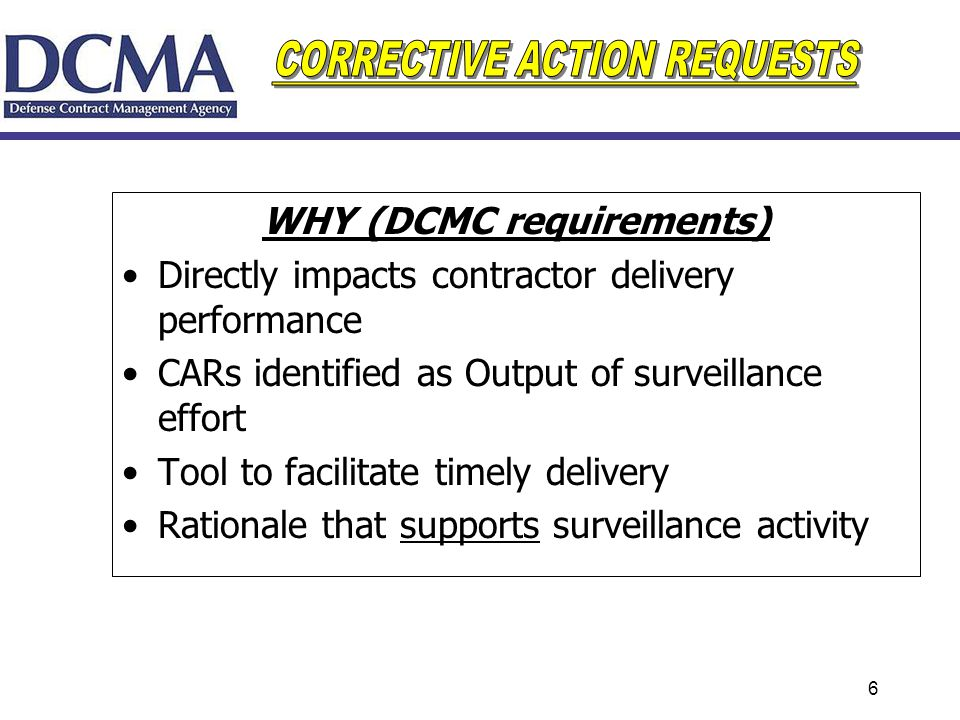 WHY (DCMC requirements)