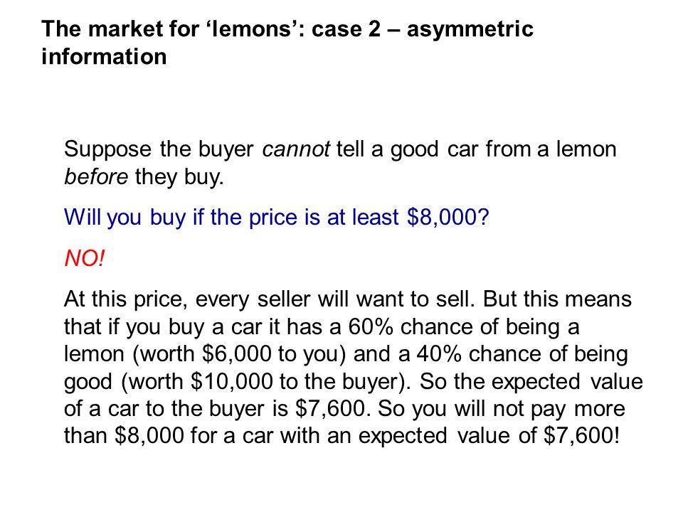 The market for 'lemons': case 2 – asymmetric information