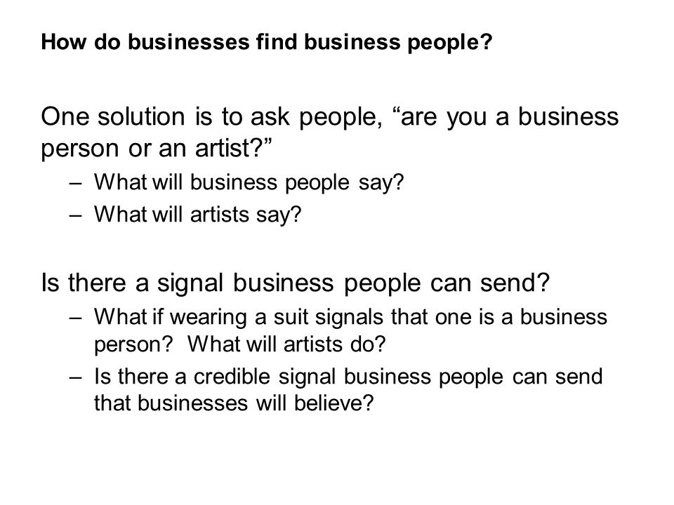 How do businesses find business people