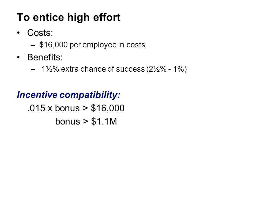 To entice high effort Costs: Benefits: Incentive compatibility: