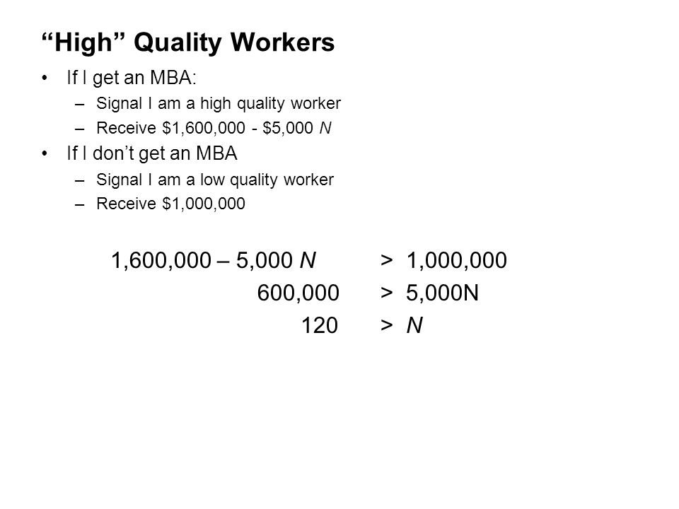 High Quality Workers