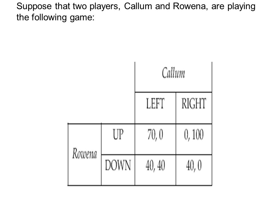 Suppose that two players, Callum and Rowena, are playing the following game: