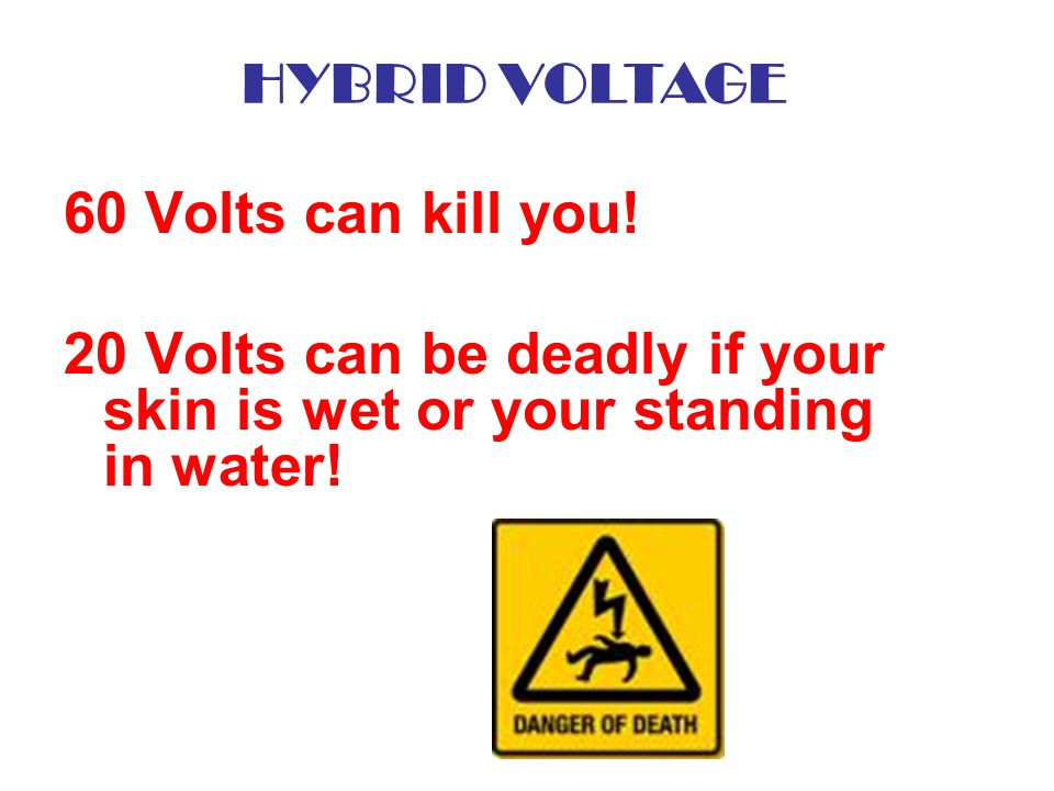 HYBRID VOLTAGE 60 Volts can kill you.