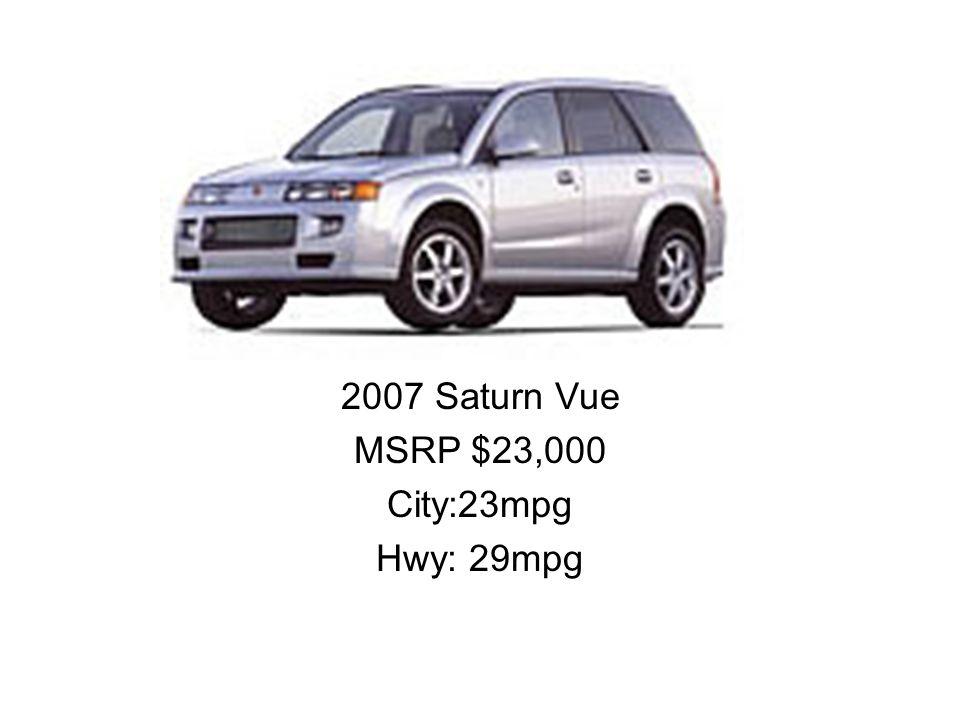 2007 Saturn Vue MSRP $23,000 City:23mpg Hwy: 29mpg